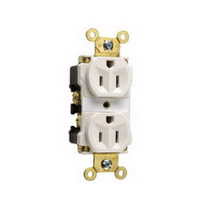 Pass & Seymour 5262-AW Double Pole Straight Blade Duplex Receptacle; Wall Mount, 125 Volt, 15 Amp, White