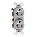 Pass & Seymour 5362-GRY Double Pole Straight Blade Duplex Receptacle; Wall Mount, 125 Volt, 20 Amp, Gray