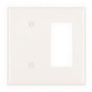 Pass & Seymour SP1426-W 2-Gang Standard-Size Combination Wallplate; Wall Mount, Thermoset Plastic, White