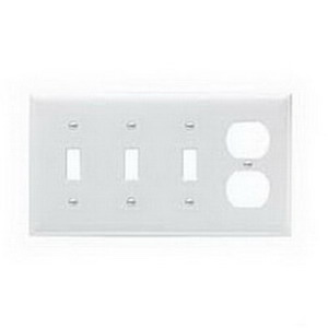 Pass & Seymour SP38-W 4-Gang Standard-Size Combination Wallplate; Wall Mount, Thermoset Plastic, White