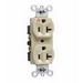 Pass & Seymour IG5362-I Double Pole Isolated Ground Straight Blade Duplex Receptacle; Wall Mount, 125 Volt, 20 Amp, Ivory