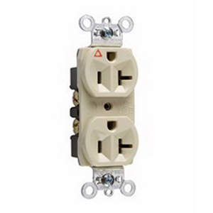 Pass & Seymour IG5362-W Double Pole Isolated Ground Straight Blade Duplex Receptacle; Wall Mount, 125 Volt, 20 Amp, White