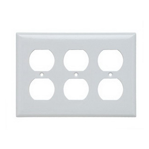 Pass & Seymour SP83-W 3-Gang Standard-Size Duplex Receptacle Wallplate; Wall Mount, Thermoset Plastic, White