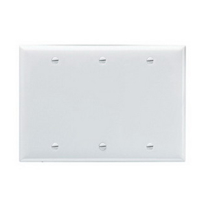 Pass & Seymour SP33-W 3-Gang Standard-Size Mounted Blank Wallplate; Box Mount, Thermoset Plastic, White