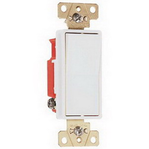 Pass & Seymour 2623-W Specification Grade Paddle 3-Way Decorator Switch; 3-Pole, 120/277 Volt AC, 20 Amp, White