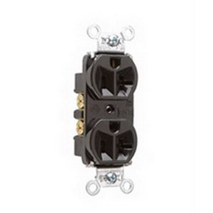 Pass & Seymour 5362 Double Pole Straight Blade Duplex Receptacle; Wall Mount, 125 Volt, 20 Amp, Brown
