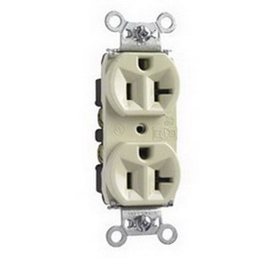 Pass & Seymour 5362-I Double Pole Straight Blade Duplex Receptacle; Wall Mount, 125 Volt, 20 Amp, Ivory