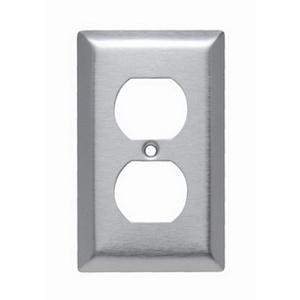 Pass & Seymour SL8 1-Gang Duplex Receptacle Wallplate; Wall Mount, Stainless Steel, Silver