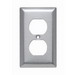 Pass & Seymour SL8 1-Gang Duplex Receptacle Wallplate; Wall Mount, Stainless Steel, Silver