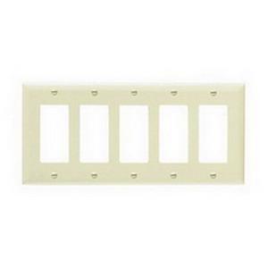 Pass & Seymour TP265-I tradeMaster® 5-Gang Standard-Size GFCI Decorator Wallplate; Wall Mount, Nylon, Ivory