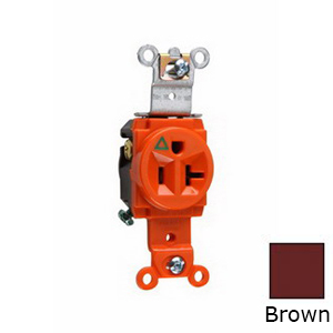 Pass & Seymour IG5361 Double Pole Isolated Ground Receptacle; Wall Mount, 125 Volt AC, 20 Amp, Orange