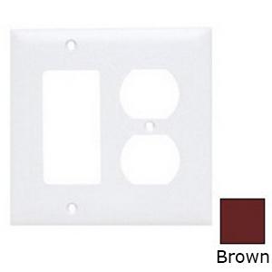 Pass & Seymour TP826 trademaster® 2-Gang Standard-Size Combination Wallplate; Wall Mount, Thermoplastic Nylon, Brown