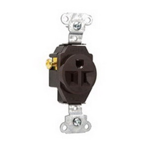 Pass & Seymour 5251 Double Pole Straight Blade Single Receptacle; Wall Mount, 125 Volt, 15 Amp, Brown