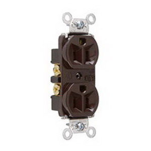 Pass & Seymour 5262 Double Pole Straight Blade Duplex Receptacle; Wall Mount, 125 Volt, 15 Amp, Brown