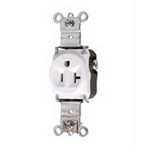 Pass & Seymour 5361-W Double Pole Single Receptacle; Wall Mount, 125 Volt, 20 Amp, White