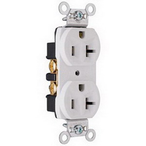 Pass & Seymour CRB5362-W Double Pole Duplex Receptacle; Wall Mount, 125 Volt, 20 Amp, White