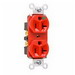 Pass & Seymour 8300-HRED Double Pole Heavy Duty Duplex Receptacle; Wall Mount, 125 Volt, 20 Amp, Red