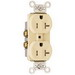 Pass & Seymour TR20I Tamper Resistant Double Pole Duplex Receptacle; Wall Mount, 125 Volt AC, 20 Amp, Ivory