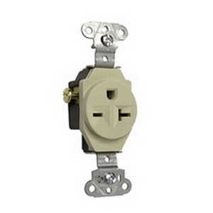 Pass & Seymour 5851-I Double Pole Single Receptacle; Wall Mount, 250 Volt, 20 Amp, Ivory
