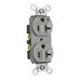Pass & Seymour 8300-HGRY Double Pole Heavy Duty Duplex Receptacle; Wall Mount, 125 Volt, 20 Amp, Gray