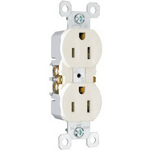 Pass & Seymour 3232-LA tradeMaster® Tamper Resistant Double Pole Straight Blade Duplex Receptacle; Wall Mount, 125 Volt AC, 15 Amp, Light Almond