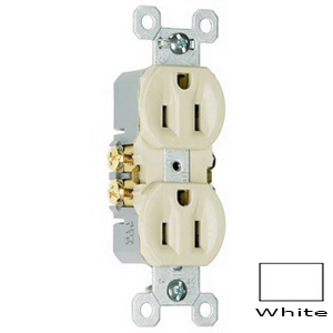 Pass & Seymour 3232-SW tradeMaster® Tamper Resistant Double Pole Self-Grounding Straight Blade Duplex Receptacle; Wall Mount, 125 Volt AC, 15 Amp, White