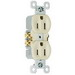 Pass & Seymour 3232-SI tradeMaster® Tamper Resistant Double Pole Self-Grounding Straight Blade Duplex Receptacle; Wall Mount, 125 Volt AC, 15 Amp, Ivory