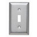 Pass & Seymour SL1 1-Gang Standard-Size Toggle Switch Wallplate; Wall Mount, Stainless Steel, Silver