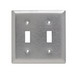 Pass & Seymour SL2 2-Gang Standard-Size Toggle Switch Wallplate; Wall Mount, Stainless Steel, Silver