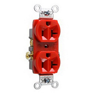 Pass & Seymour CR20-RED Double Pole Straight Blade Duplex Receptacle; Wall Mount, 125 Volt, 20 Amp, Red