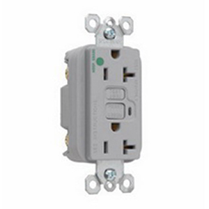 Pass & Seymour 2095-HGGRY Double Pole GFCI Receptacle; Wall Mount, 125 Volt, 20 Amp, Gray