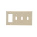 Pass & Seymour SP326-I 4-Gang Standard-Size Combination Wallplate; Wall Mount, Thermoset Plastic, Ivory