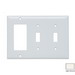 Pass & Seymour SP226-LA 3-Gang Standard-Size Combination Wallplate; Wall Mount, Thermoset Plastic, Light Almond
