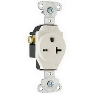 Pass & Seymour 5851-LA Double Pole Single Receptacle; Wall Mount, 250 Volt, 20 Amp, Light Almond