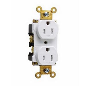 Pass & Seymour TR15-W Tamper Resistant Double Pole Duplex Receptacle; Wall Mount, 125 Volt AC, 15 Amp, White