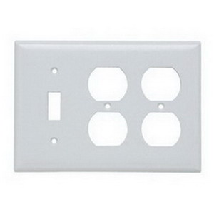 Pass & Seymour SP182-W 3-Gang Standard-Size Combination Wallplate; Wall Mount, Thermoset Plastic, White