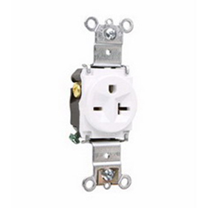 Pass & Seymour 5871-W Double Pole Single Receptacle; Wall Mount, 250 Volt AC, 20 Amp, White