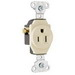 Pass & Seymour 5251-LA Double Pole Straight Blade Single Receptacle; Wall Mount, 125 Volt, 15 Amp, Light Almond