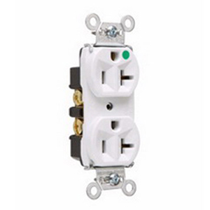Pass & Seymour 8300-HW Double Pole Heavy Duty Duplex Receptacle; Wall Mount, 125 Volt, 20 Amp, White