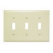 Pass & Seymour TP3-I tradeMaster® 3-Gang Standard-Size Toggle Switch Wallplate; Wall Mount, Thermoplastic, Ivory