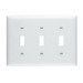 Pass & Seymour TP3-W tradeMaster® 3-Gang Standard-Size Toggle Switch Wallplate; Wall Mount, Thermoplastic, White