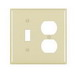 Pass & Seymour TP18-I trademaster® 2-Gang Standard-Size Combination Wallplate; Wall Mount, Thermoplastic Nylon, Ivory