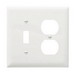 Pass & Seymour TP18-W trademaster® 2-Gang Standard-Size Combination Wallplate; Wall Mount, Thermoplastic Nylon, White