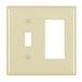 Pass & Seymour TP126-I trademaster® 2-Gang Standard-Size Combination Wallplate; Wall Mount, Thermoplastic Nylon, Ivory