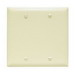 Pass & Seymour TP23-I tradeMaster® 2-Gang Standard-Size Mounted Blank Wallplate; Box Mount, Thermoplastic, Ivory