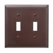 Pass & Seymour TP2 tradeMaster® 2-Gang Standard-Size Toggle Switch Wallplate; Wall Mount, Thermoplastic Nylon, Brown