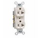 Pass & Seymour CR20-LA Double Pole Straight Blade Duplex Receptacle; Wall Mount, 125 Volt, 20 Amp, Light Almond