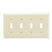 Pass & Seymour TP4-LA tradeMaster® 4-Gang Standard-Size Toggle Switch Wallplate; Wall Mount, Thermoplastic, Light Almond