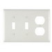 Pass & Seymour TP28-W trademaster® 3-Gang Standard-Size Combination Wallplate; Wall Mount, Thermoplastic Nylon, White