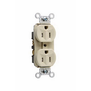 Pass & Seymour TR5262-I Tamper Resistant Double Pole Duplex Receptacle Wall Mount 125 Volt AC 15 Amp Ivory